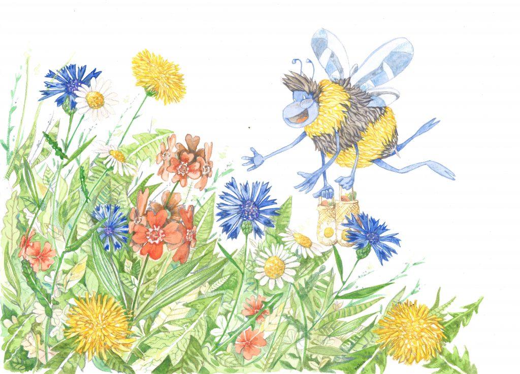 Piirroskuvassa kukkia ja pörriäinen.